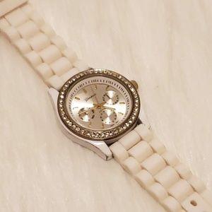 Geneva Women's Whit Quartz Watch with Rhinestones
